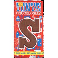 Tony's Chocolonely chocoladeletter S - melk - 180 gram